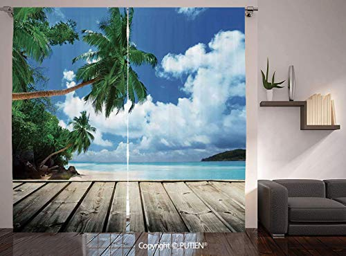 Thermal Insulated Blackout Window Curtain [ Art,Tropical Island Beach from the Deck Pier by the Ocean with PalmTrees Exotic Print,Green Navy Brown ] for Living Room Bedroom Dorm Room Classroom Kitchen -