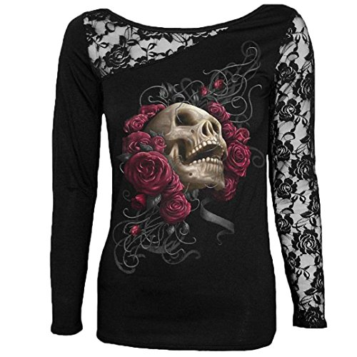 HOT ! Ninasill Exclusive Women's Gothic Lace Skull Print Blouse Long Sleeve Tunic T Shirt Tops (XXXXL, (Hot 97 Halloween Party)