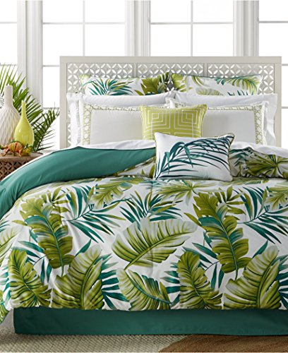 Tropical-Palm-Fronds-Leaves-Beach-House-Queen-Comforter-Set-7-Piece-Bed-In-A-Bag-HOMEMADE-WAX-MELT