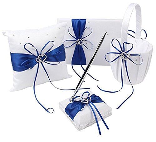 Flower Girl Basket Set - Four Blue Wedding Accesorries Sets High Quality Wedding Guest Book +Pen Set +Flower Girl Basket + Ring Pillow, Double Hearts Rhinestone Elegant Wedding Ceremony Party Favor Sets