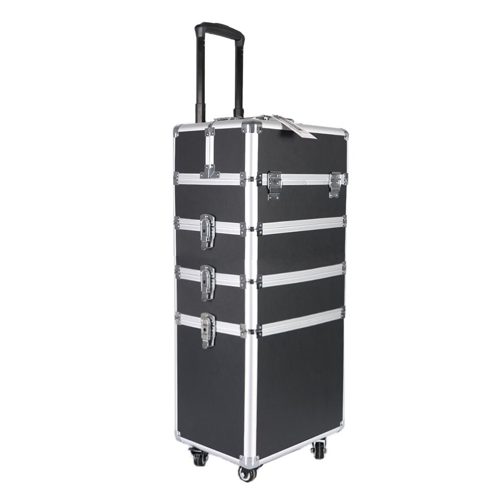 Professional Makeup Train Case,Portable Aluminum Rolling Cosmetic Storage Jewelry Organizer Travel Brush Bag Holder with DIY Adjustable Divider&Key Lock,4-in-1 Artist Trolley Caster Box Bin-Black