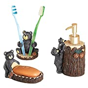 Collections Etc Woodland Bear Bath Accessories - Set Of 3