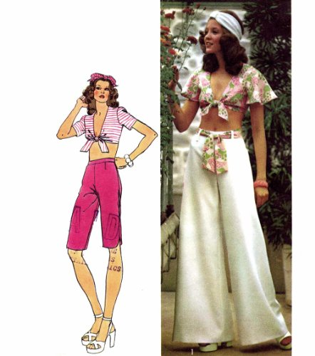 Misses Top Capri Pants Wide Leg Pants 1970s Simplicity 5695 Vintage Sewing Pattern Size 10 Bust 32 1/2 70s Simplicity Sewing Pattern