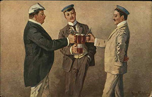 Bierduell - 3 Men with Beer Mugs Breweriana Original Vintage Postcard from CardCow Vintage Postcards