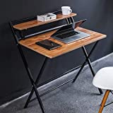 JIWU 2-Form Folding Study Desk for Small Space Home Corner Desks Simple Computer Desk Laptop Writing Table