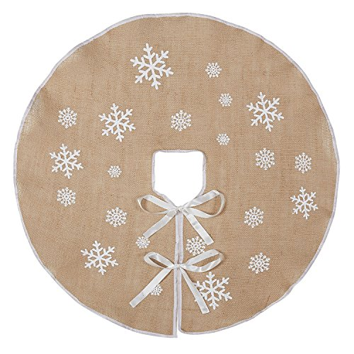 Marry Acting Countryside Burlap Tree Skirt Christmas 30 Inch White Snowflake Printed Xmas New Year Holiday Decorations Indoor Outdoor