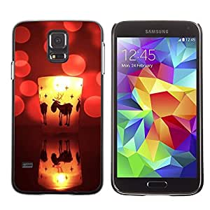 YOYO Slim PC / Aluminium Case Cover Armor Shell Portection //Christmas Holiday Cute Deer Candle 1152 //Samsung Galaxy S5