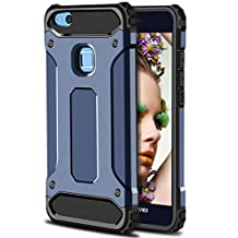 Huawei P10 Lite Case,Wollony Rugged Hybrid Dual Layer Armor Protective Back Case Shockproof Cover for Huawei P10 Lite - Slim Fit - Heavy Duty - Impact Resistant Bumper (Deep Blue)