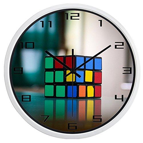 (Brand Modern Fashion Design Rubik's Cube HD Picture Wall Clock(12inch,White Frame))