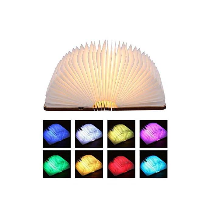 51e4CgvuwUL La luz de libro plegable de 360 ° se puede plegar en cualquier forma, creando una atmósfera cálida y armoniosa Diseño especial y elegante en forma de libro, ligero y portátil. La batería integrada dura hasta 8 horas de iluminación continua.