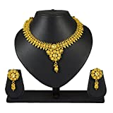 Pourni Short Necklace Set with Earring for Antique Finish Necklace Set For Women