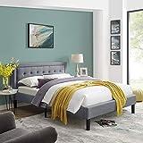 Mornington Upholstered Platform Bed | Headboard and Metal Frame with Wood Slat Support | Grey, King