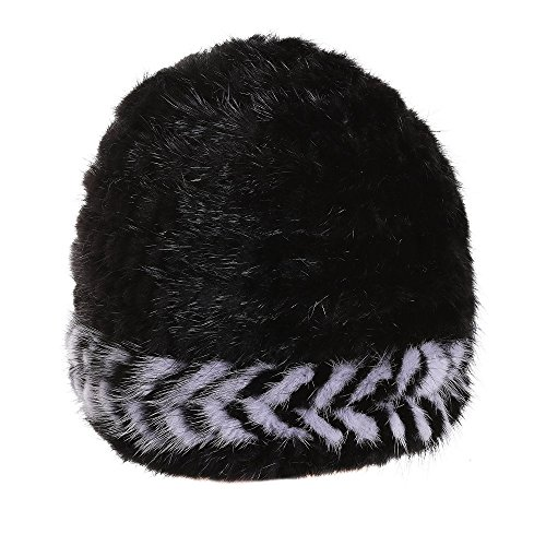 X'NERVS Womens Girls Winter Genuine Mink Fur Knitted Beanie Hat with Decorative Pattern (black) by X'NERVS