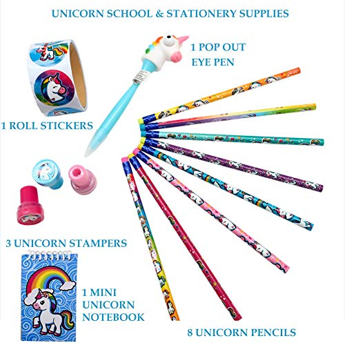Unicorn Gifts for Girls, School Supplies | Includes Unicorn Pen w/ Popping Eye, Pencils, Mini Notebook, Stampers & Stickers + Vinyl Case for Carrying & Storage, Colorful Desk Accessories for ()