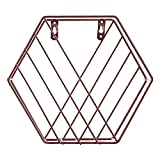 Storage Rack Iron Hexagon Design Floating Wall Shelves Combination Wall Hanging Geometric Shelf Wall Decorative Newspaper Rack for Living Room Bedroom (Gold)