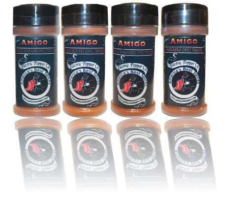 Spice Gift Set Habanero Scotch Bonnet Serrano Chipotle Chili Pepper Powder Amigo Hot by Amigo