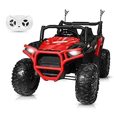 BAHOM 12V Electric Ride on Truck Car 2 Seats for Kids with Parental Remote Control, LED Light MP3/Bluetooth Music Player, Easy to Assemble (Red): Toys & Games