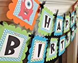Little Monster Happy Birthday Banner - Lime Green Chevron Blue Polka Dots with orange and Black accents - Party Pack Specials Available