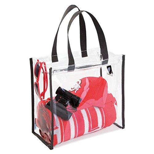 mDesign Stadium Storage Tote Bag for Seat Cushion, Blanket, Binoculars, Umbrella - Clear/Black