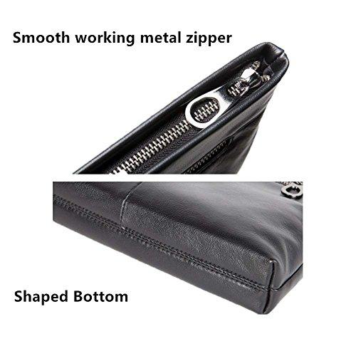 Genuine Leather Envelope Clutch Bag Business Portfolio Briefcase for Men Black by Sturdybags (Image #4)