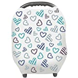 Baby Car Seat Covers - Privacy Nursing Cover Breastfeeding Scarf Car Seat Canopy - Shopping Cart - Stroller - Carseat Covers for Boys and Girls - Best Multi Use Infinity Stretchy Shawl (Blue)