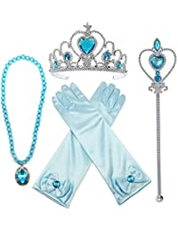 Princess Elsa Dress Up Party Accessories et Gloves, Tiara, Wand And Necklace, Lake Blue, 4 Piece