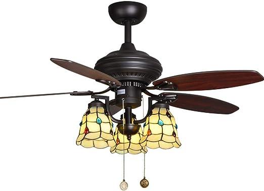 JSY Luz del Ventilador del Techo del jardín del país luz del Ventilador Antiguo salón luz del Ventilador del Restaurante lámpara Retro Ventiladores de Techo con lámpara: Amazon.es: Hogar