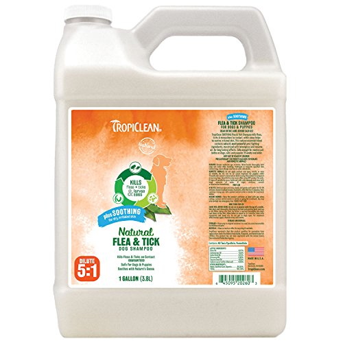 Tick Shampoo Gallon - TropiClean Flea and Tick Soothing Shampoo for Dogs, 1 gal, Made in USA