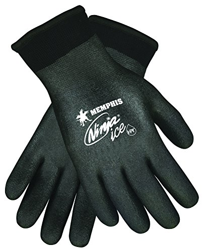 Memphis Glove N9690FCM Ninja Ice FC Nylon Back Double Layer Gloves with Full Dipped HPT Coating, Black, Medium, 1-Pair (Dipped Gloves Nylon)