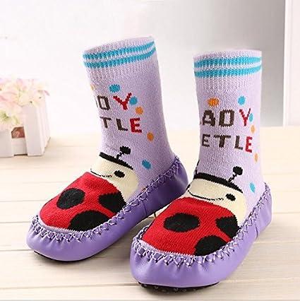 Bebedou de color púrpura calcetines antideslizantes con separación de 3 capacidad para 9 meses de bebé