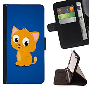 BullDog Case - FOR/Samsung Galaxy S6 / - / cute funny kitten yellow pet animal cat /- Monedero de cuero de la PU Llevar cubierta de la caja con el ID Credit Card Slots Flip funda de cuer