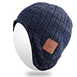 Electronics Teens Best Deals - Qshell Wireless Bluetooth Beanie Hat Ear Covers Headphones Headsets with Speaker Mic Hands Free for Women Men Outdoor Sports,Compatible with Iphone 7/7 plus,Samsung,Best Christmas Gifts - Blue/Gray