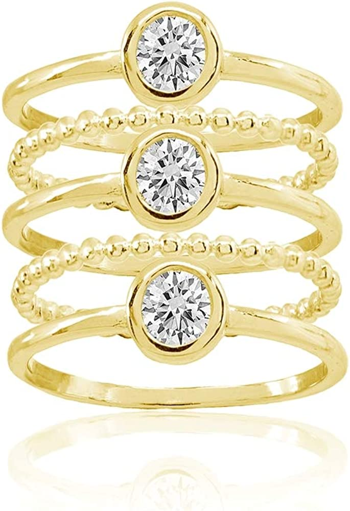 Set of 5 Sterling Silver Cubic Zirconia Round Stackable Bead Band Rings