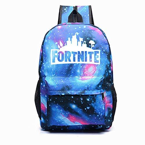 COSFLY Fortnite Royal BattleGalaxy Backpack Rucksack Student Book Bag Night Luminous School Bags (Galaxy Blue)