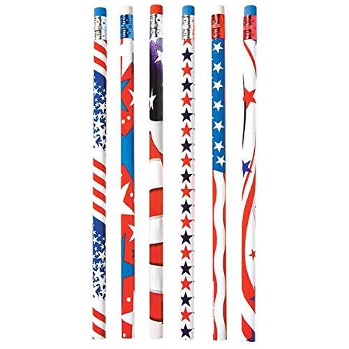 48 Piece Nikkis Knick Knacks Patriotic Pencils and Star Erasers