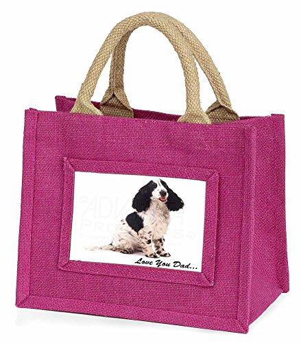 Advanta–Mini Pink Jute Tasche Cocker Spaniel Love You Dad Little Mädchen klein Einkaufstasche Weihnachten Geschenk, Jute, pink, 25,5x 21x 2cm