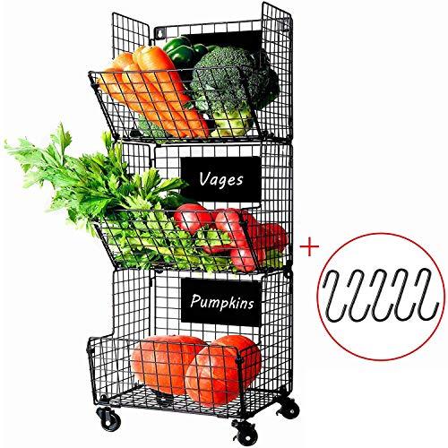 X-cosrack 3 Tier Metal Wire Baskets -Wall Storage Basket Organizer with Wheel, S-Hooks,Adjustable Chalkboards- Hanging Baskets for Kitchen,Fruit, Vegetables, Toiletries, Bathroom Rack(Black) (Vegetable Storage Baskets)