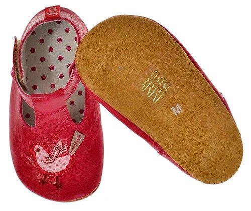 Anna und Paul - Babyschuhe - Krabbelschuhe - Vögelchen pink - Leder gefüttert (M-20-21-ca.13.3cm-12-16 Mon.)
