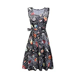 STYLEWORD Women's Halloween Sleeveless Flare Cocktail Dress with Pocket