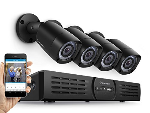 Amcrest Eco-HD 720P (1280TVL) 4CH Video Security System w/ Four 1.0 Megapixel IP67 Weatherproof Bullet Cameras, 65ft Night Vision, Long Distance Transmit Range (1,640ft), Pre-Installed 1TB HD ...