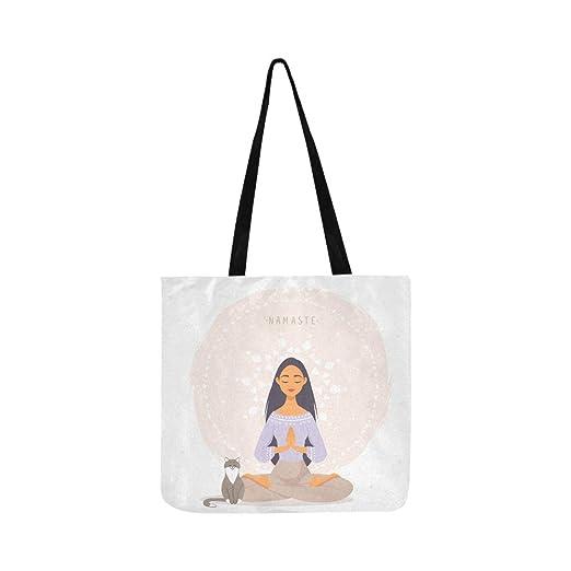 Linda chica de dibujos animados en yoga pose de loto lienzo ...