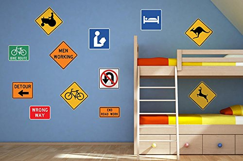 Wallmonkeys Assorted Street Sign Collection Wall Decal Sticker Set Individual Peel and Stick Graphic for Boys (48 in W x 32 in H) WM64685 (Wall Bears Street)