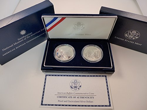 2001 P & D Commemorative Silver Dollars American Buffalo 2 Coin Set Uncirculated & Proof