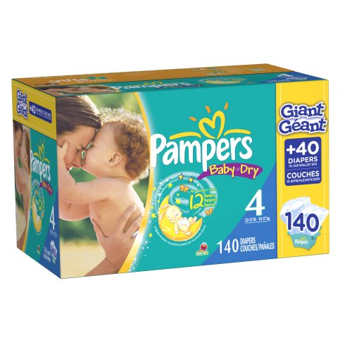 Pampers Baby Dry Diapers Size 4 Giant Pack, 140 Count by Pampers