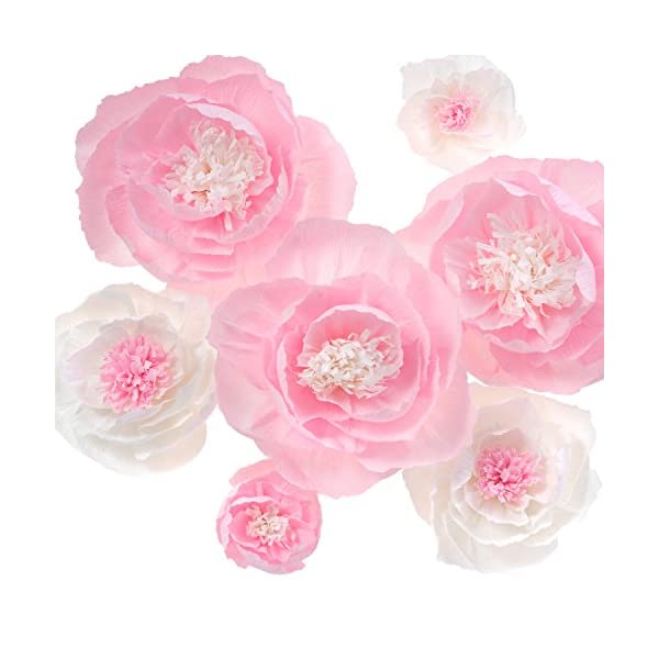 Large-Crepe-Paper-FlowersHandcrafted-FlowersFor-Shop-Window-Display-Baby-Nursery-Home-Decor-Baby-Showers-Birthday-Wedding-BackdropNursery-Wall-DecorArchway-DecorPink-and-White-Set-of-7-