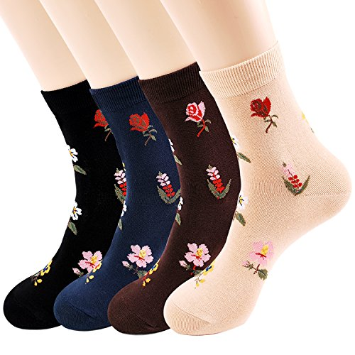 J.Urban Women's Socks Gift Idea - Cat Dogs Art Fancy Design Funny | Christmas Gifts for Mom Girlfriend Ladies (Women's Socks Flower garden) ()