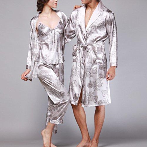 Zhhlinyuan Comfortable Lovers Silk Sleepwear Long sleeves Pajamas Nightgown Gray&Silver