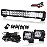 "TERRAIN VISION Premium 23"" 24Inch Led Light Bar 144W Spot Flood Combo for Bull Bar Hiden Bumper & 4"" 18w Cube Pods Offroad Fog Lamps & Remote Wiring Kit for Chev Suburban Titan Kawasaki Arctic Wildcat"