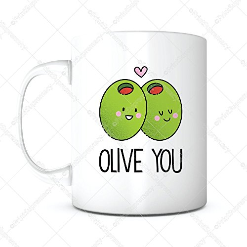 Olive You-Morning Coffee Mug,Anniversary Gift,Romantic Gift,Funny Cute Gift,Boyfriend Girlfriend Gifts,Love Gift,Christmas Gift,Valentines Day,Birthday Gift,Mothers Fathers Day Gift, Gifts for Mom Dad