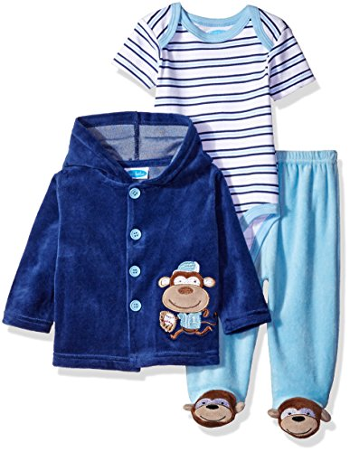 BON BEBE Boys' 3 Piece Velour Jacket Set with Bodysuit and Pant, Baseball Blue, 3-6 Months (3 Piece Jacket)